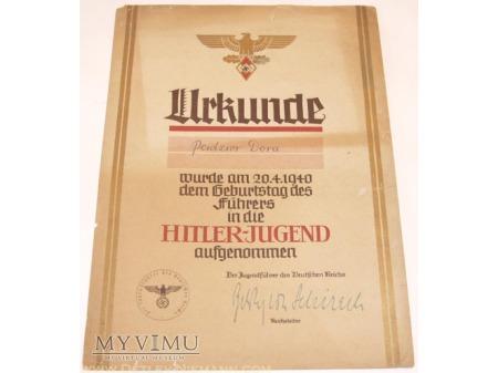 Urkunde zur Aufnahme in die HJ
