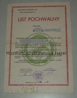 LIST POCHWALNY JW 2457 Bolesławiec 62 ks