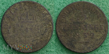 Niemcy, 1852, 3 PFENNIGE