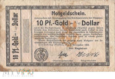 10 Pf.-Gold=1/42 Dollar Landsberg a.d Warthe