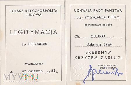 Legitymacja - Srebrny Krzyż Zasługi
