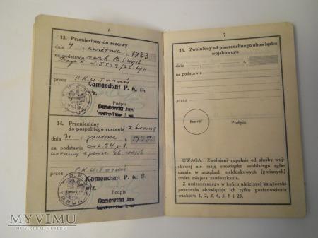 Książeczka wojskowa 1938' 59 p.p. Inowrocław