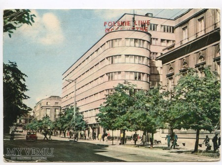 Gdynia - ulica 10 Lutego i budynek PLO - 1964