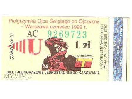 Duże zdjęcie Okolicznościowy bilet z Warszawy