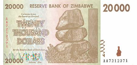 Duże zdjęcie Zimbabwe - 20 000 dolarów (2008)