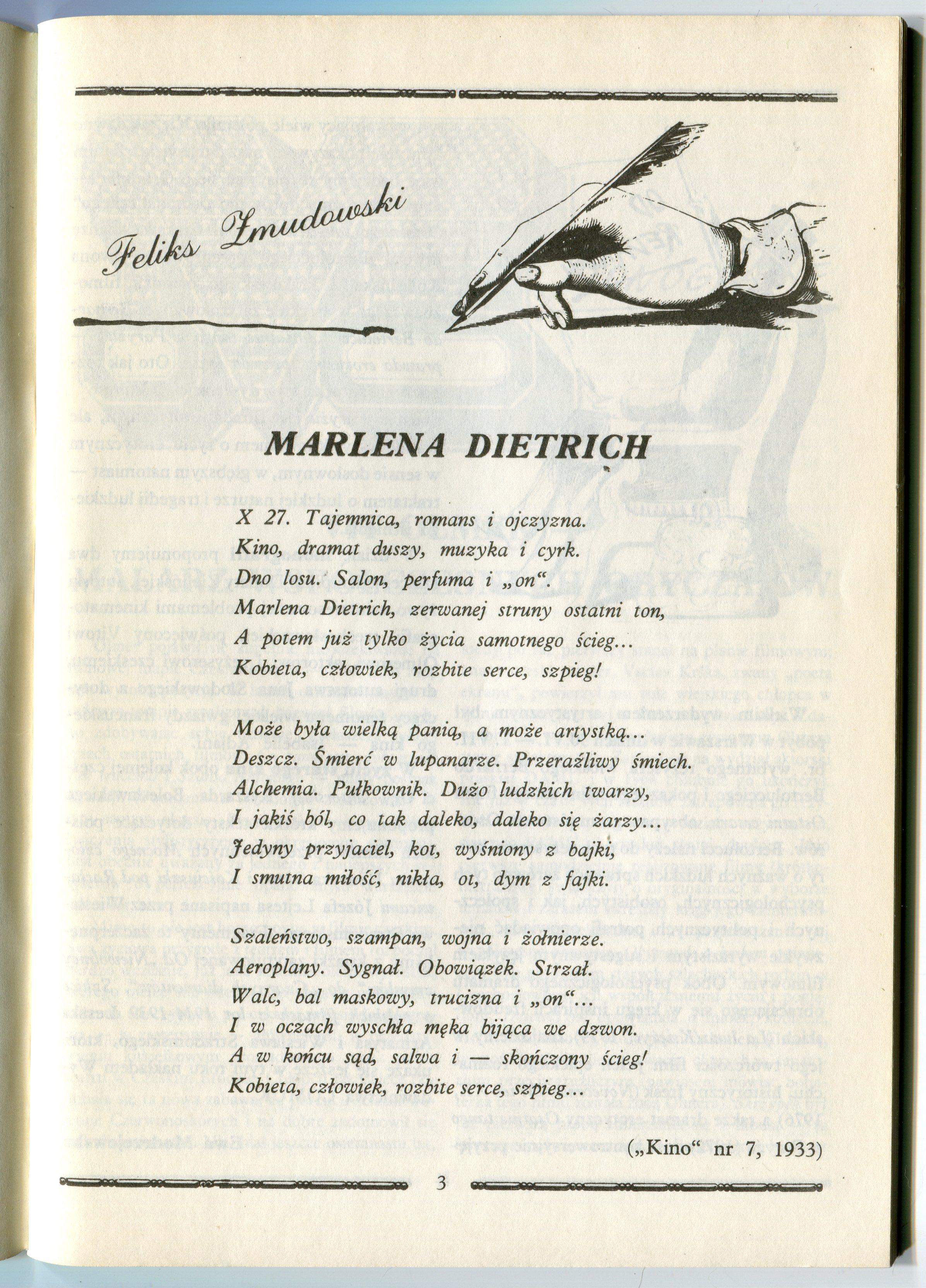 Wiersz Dla Marleny Dietrich W Pocztówki Artystyczne W