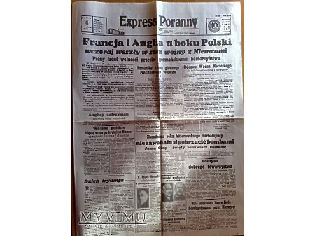 Duże zdjęcie Gazeta Express Poranny z 4 września 1939 r.