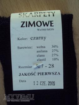 Skarpety zimowe czarne wz.540/MON