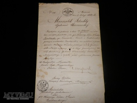 Dokumenty wydane Marszałek Szlachty Gubernii ....