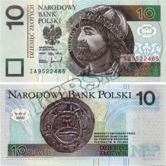 Banknot 10 zlotych 1994