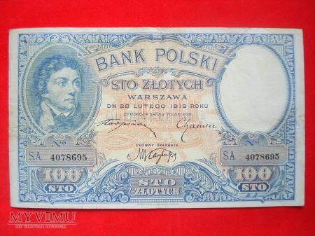 Duże zdjęcie 100 złotych 1919 rok