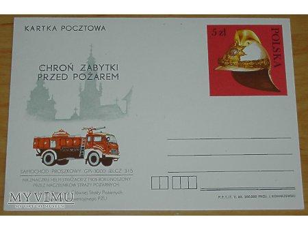Duże zdjęcie Kartka pocztwa wóz strażacki na podwoziu Jelcz 315