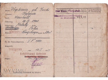 Świadectwo pracy z 1944.
