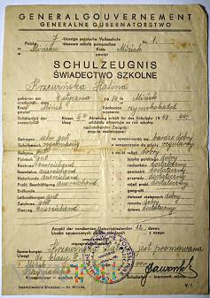 Świadectwo szkoły podstawowej GG 1944 rok