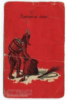 dzieci Diabeł KRAMPUS Pozdrav od čerta pocztówka