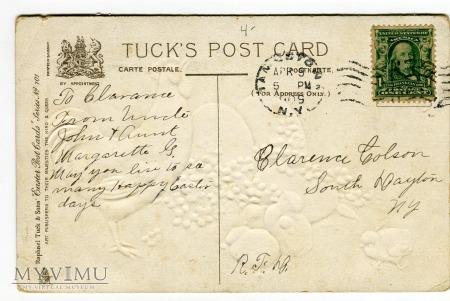 1909 Raphael Tuck PostCard Wielkanoc Pisanki Kogut