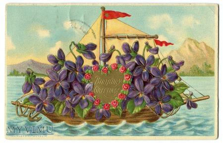 1909 USA Statek kwiatów Urodziny pocztówka litho