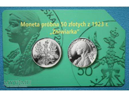 Moneta Próbna 50 złotych z 1923 r. Żniwiarka