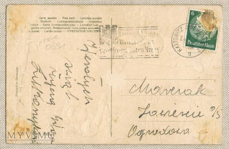 Stempel Katowice z 1940 . Kattowitz Wesołych Świąt