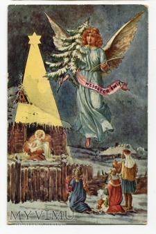 1933 Polska pocztówka świąteczna Trzej Królowie