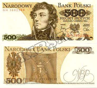 Banknot 500 zlotych 1982