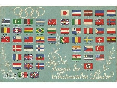 Niemiecka pocztówka z flagami.
