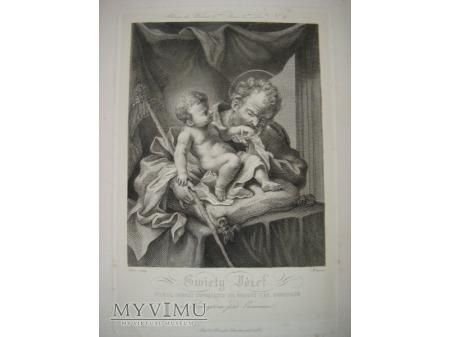 Św. Józef - miedzioryt - XIX wiek