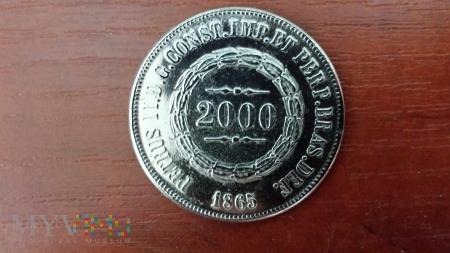 Moneta 2000 Reis 1865 r.