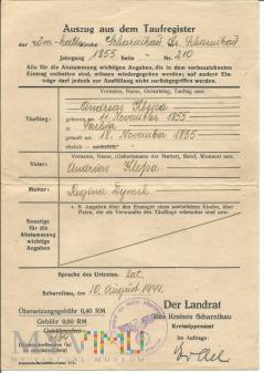Odpis z aktu ślubu 1944