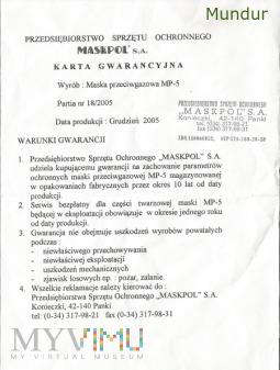Maska p-gaz MP-5 - karta gwarancyjna