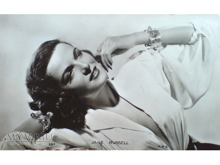 JANE RUSSELL fotografia pocztówka VINTAGE 50-te