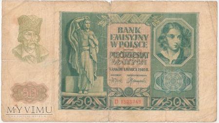 50 złotych 1 marca 1940 rok seria D