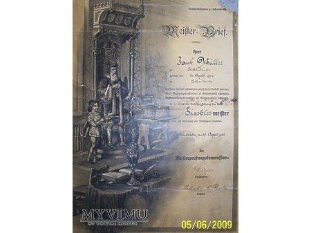 Dyplom cechu stolarskiego