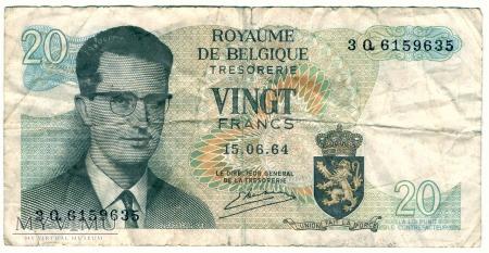 Belgia, 20 Franków 1964r
