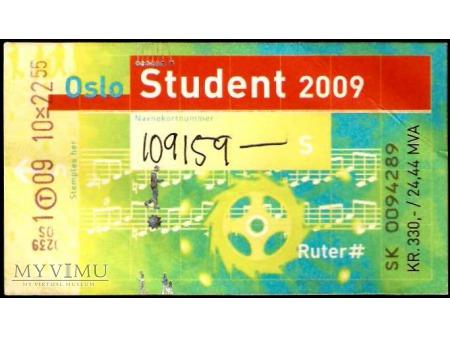 Bilet autobusowy z Norwegii.