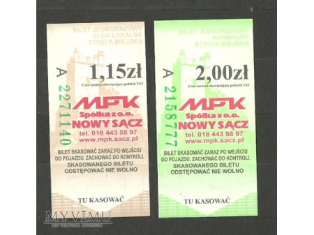 Bilety MPK Nowy Sącz.