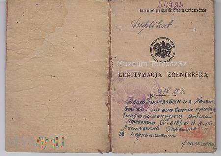 Legitymacja Żołnierska 1945r. 9 Samodz Baon Pracy
