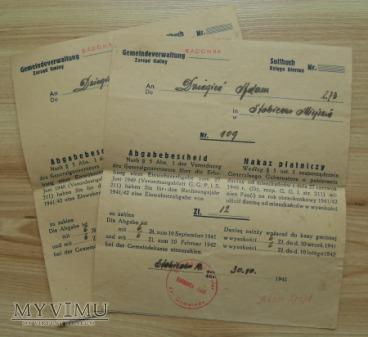 nakaz płatniczy, GG, rok 1941
