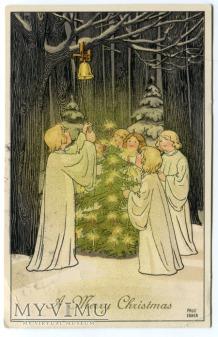 1914 Pauli Ebner Anioły na Święta Angels postcard