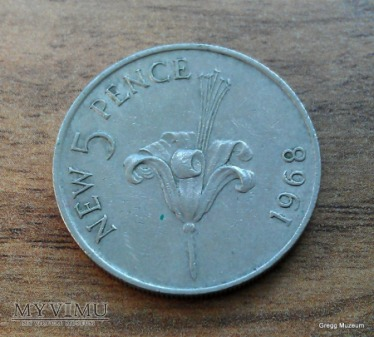 5 New Pence-Bailiwick of Guernsey 1968