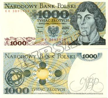 Banknot 1000 zlotych 1982 r