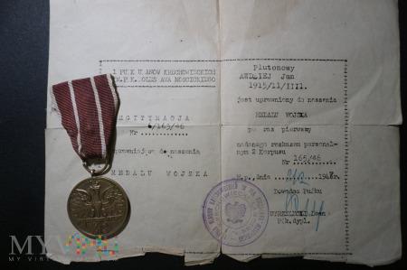 Legitymacja nadanie Medalu Wojska PSZ na Zachodzie