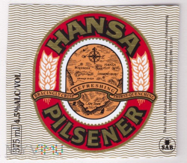 South Africa, hansa pilsener
