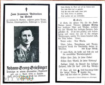 Nekrolog grenadiera poległego w Steinau o.s.