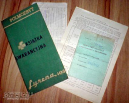 Karta gwarancyjna auta Syrena 105