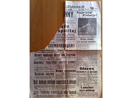 Fragment Gazeta Kurjer Poranny z 5 września 1939 r