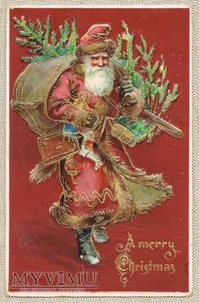 1907 Mikołaj z prezentami i choinką