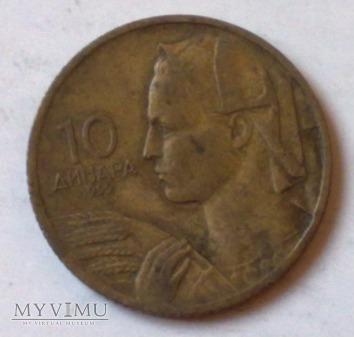 Moneta Jugosławia 10 dinarów 1955