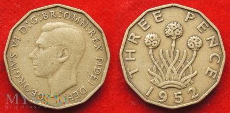 Wielka Brytania, THREE PENCE 1952