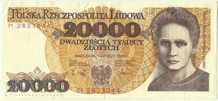 Banknot 20 000 złotych 1 lutego 1989